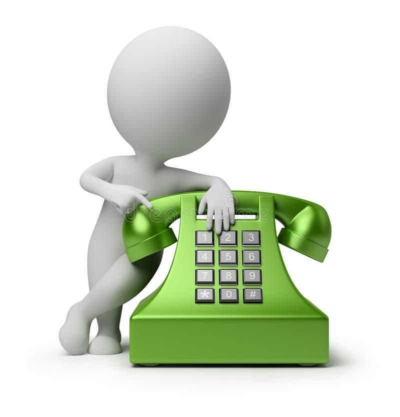 3d kleine mensen - vraag telefonisch stock illustratie