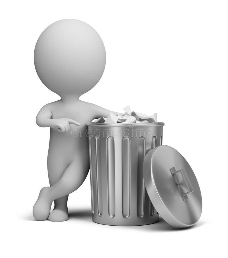 3d kleine mensen - vuilnisbak vector illustratie