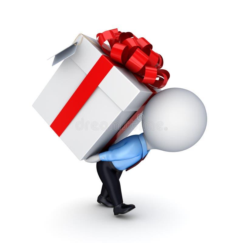 .3d kleine Person, die einen Geschenkkasten drückt vektor abbildung