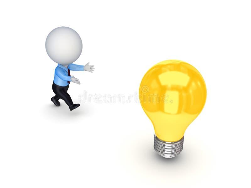 3d kleine persoon die aan een lamp loopt. royalty-vrije illustratie