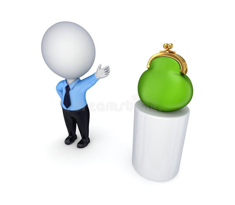 3d kleine persoon die op een groene beurs toont. royalty-vrije illustratie