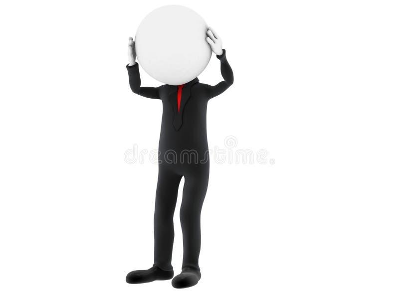 3d kleine persoon die zijn hoofd houdt vector illustratie