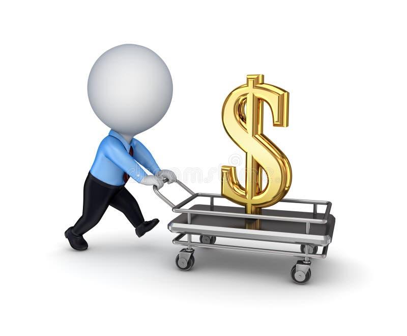 3d kleine persoon, het winkelen karretje en dollarteken. royalty-vrije illustratie