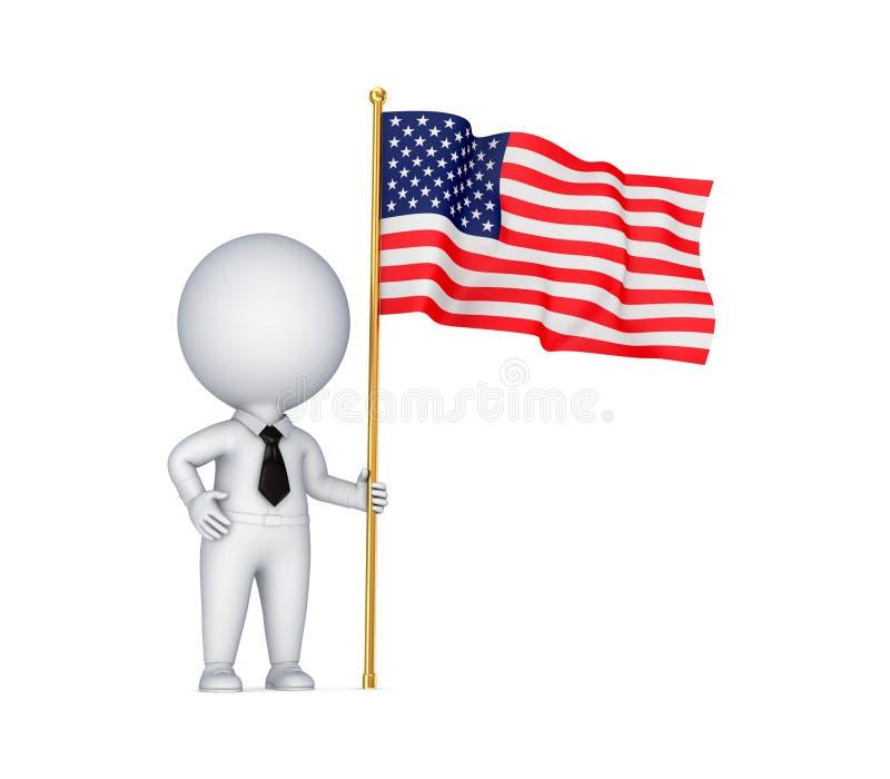 3d kleine persoon met een Italiaanse vlag in een hand. stock illustratie