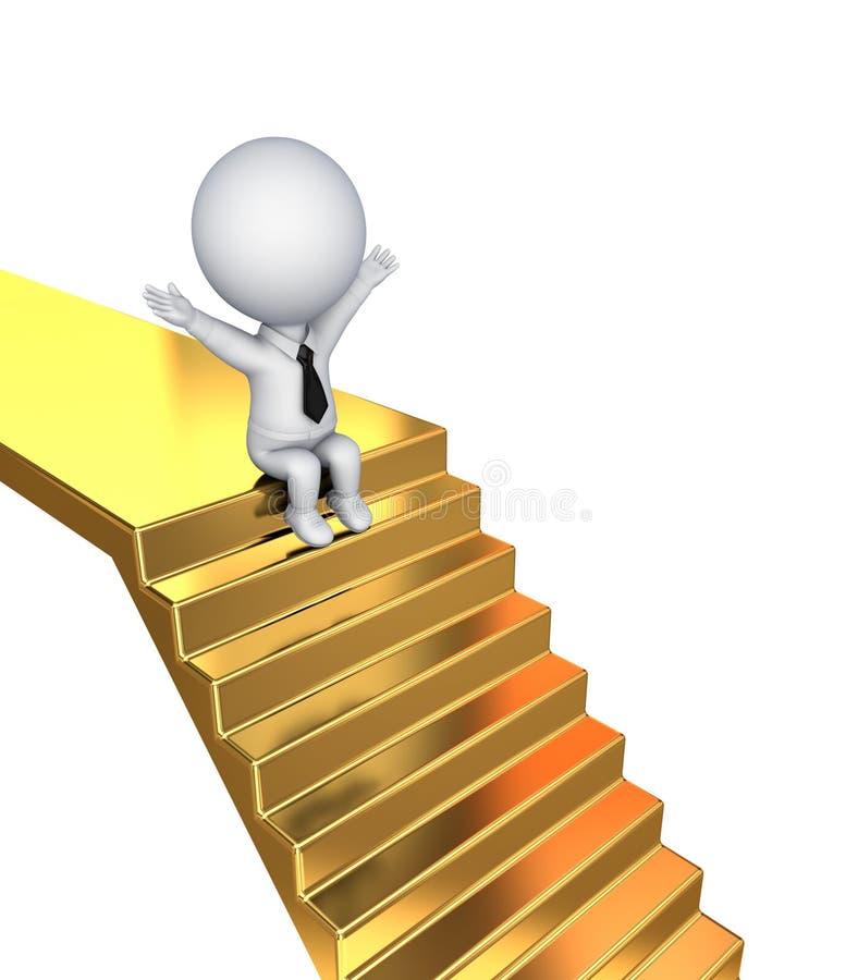 3d kleine persoonszitting op gouden treden. vector illustratie