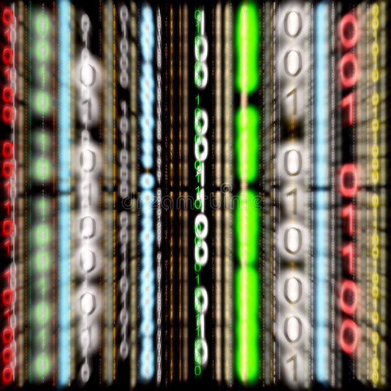 3D Kleurrijke Binaire Code - het Effect van het Gezoem (Achtergrond) royalty-vrije stock afbeeldingen