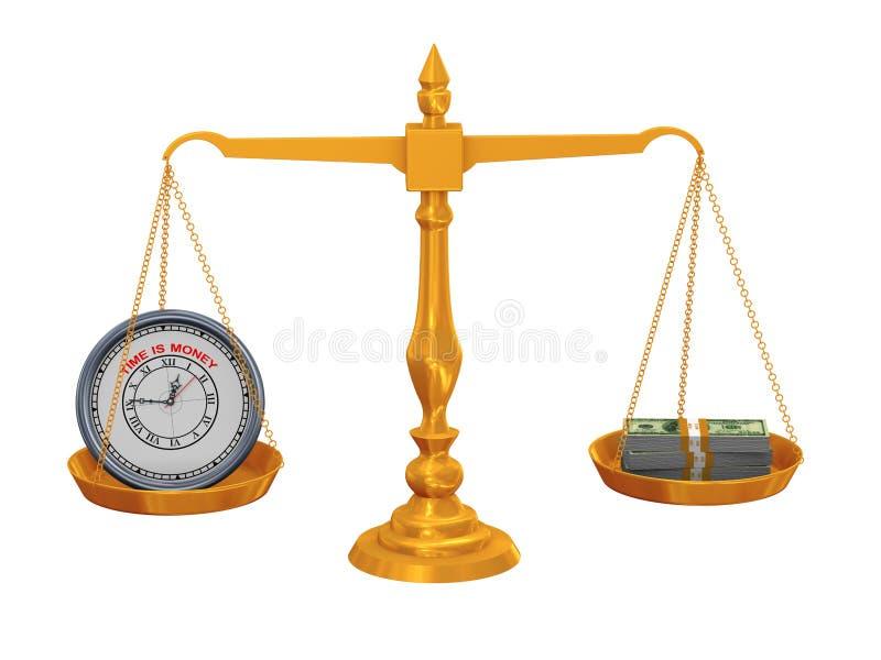 3d klok en geld op schaal royalty-vrije illustratie