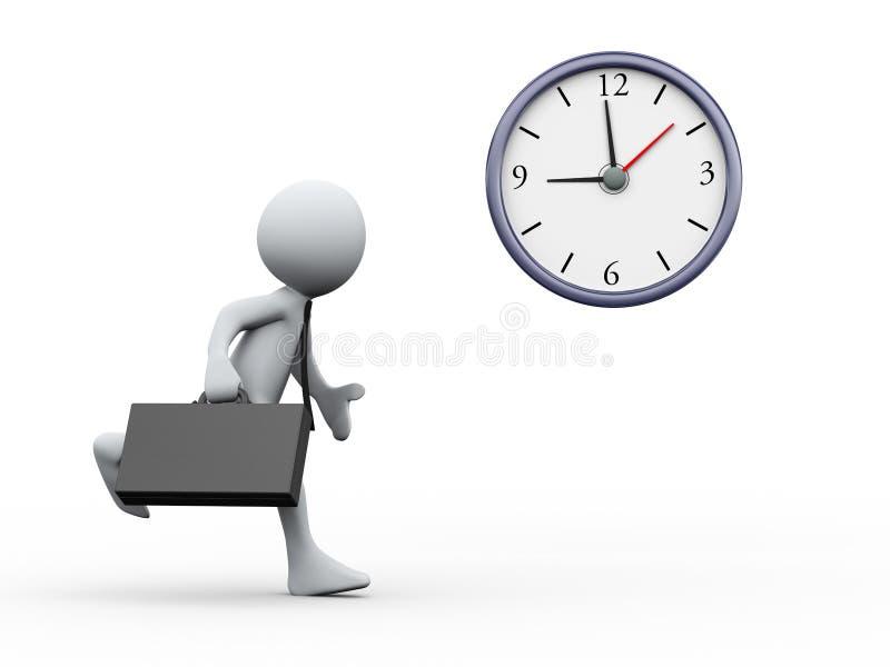 3d klok en runnig zakenman vector illustratie