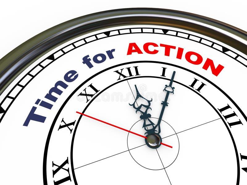 3d klok - tijd voor actie stock illustratie