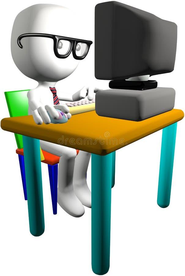 3d komputerowego biurka genialny monitoru głupka użytkownik komputeru royalty ilustracja