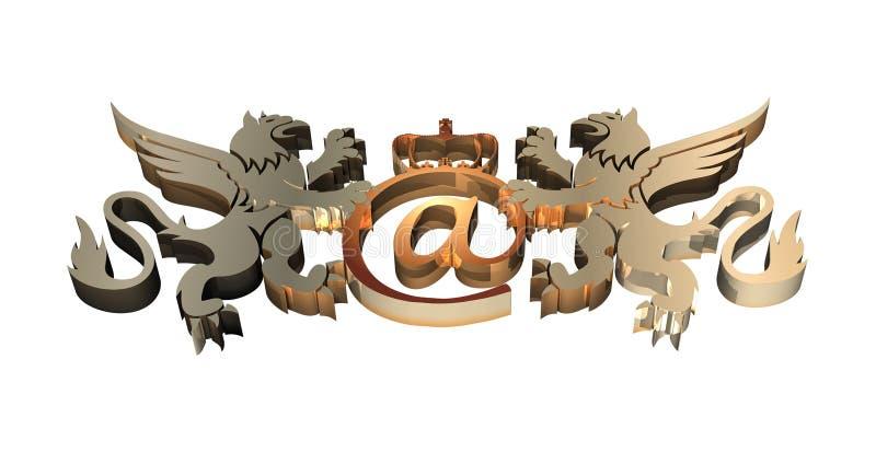 3D Koninklijk E-mailSymbool stock illustratie