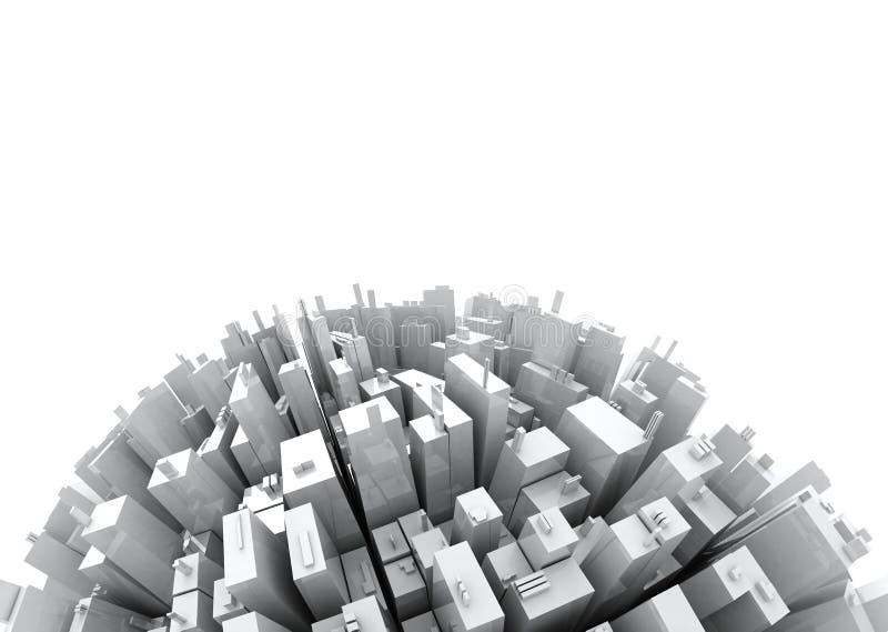 3d kopia odizolowywający skyscrappers przestrzeni biel royalty ilustracja