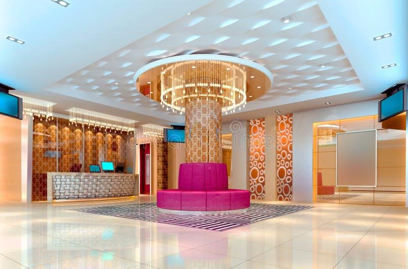 3d korytarz świetlicowa sala royalty ilustracja