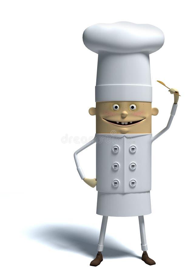 3d kreskówka szef kuchni ilustracji