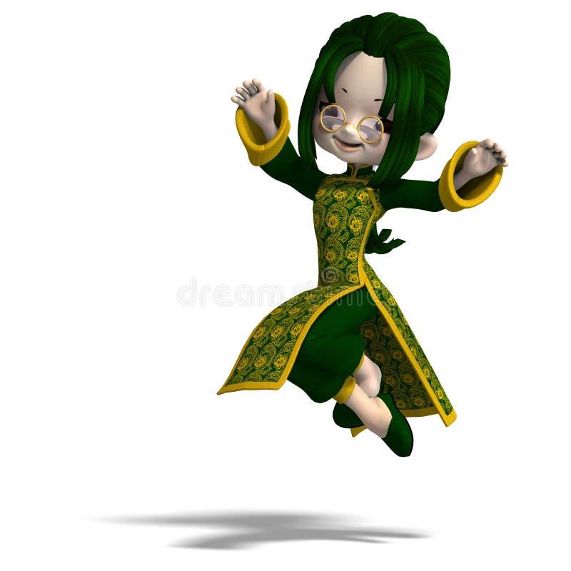 3d kreskówki porcelany sukni śmieszna dziewczyny zieleń ilustracji