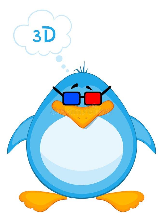 3d kreskówki szkieł pingwin ilustracji