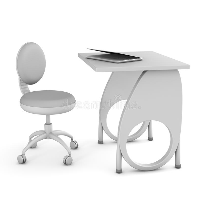 3d krzesła biurka wizerunku szkoła ilustracji