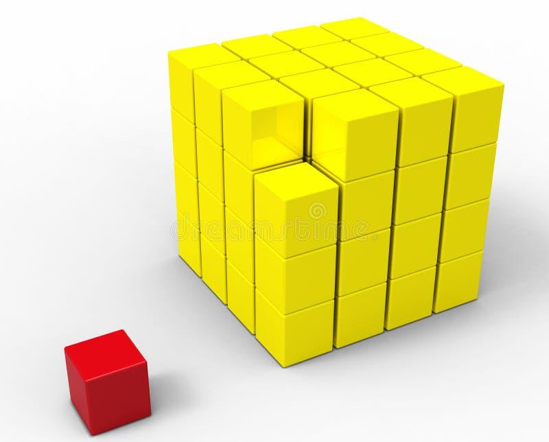3d kubus die op wit wordt geïsoleerdb stock illustratie