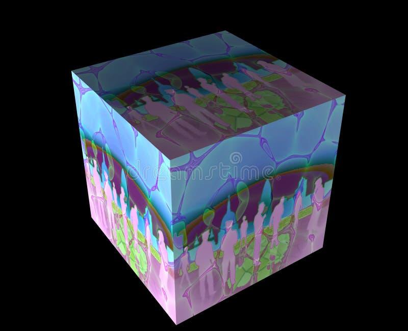 3d kubus met mensen vector illustratie