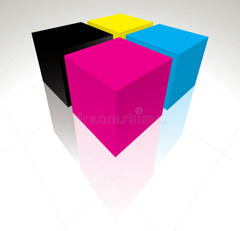 3D kubussen CMYK royalty-vrije illustratie