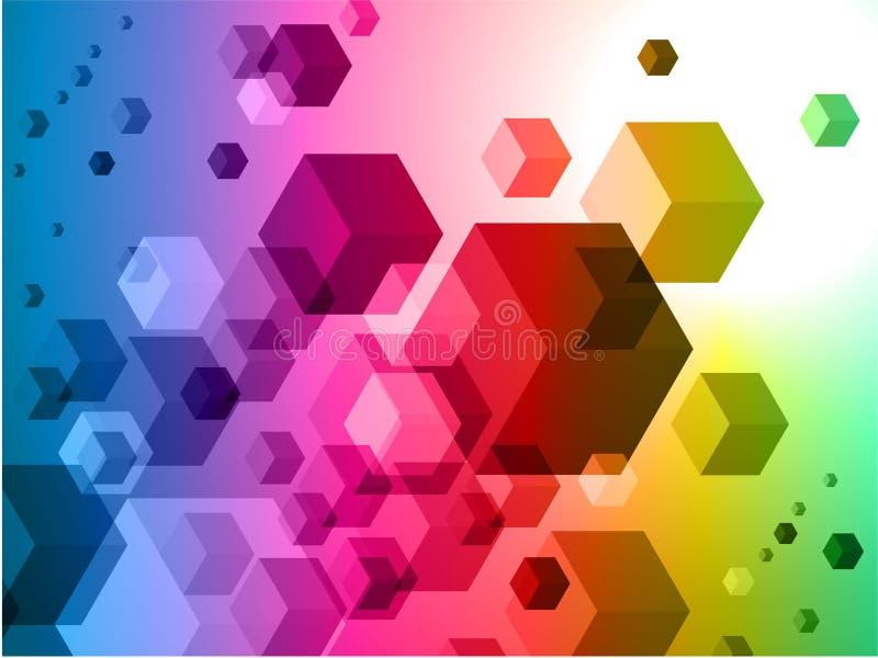 3D Kubussen op Kleurrijke Abstracte Achtergrond stock illustratie