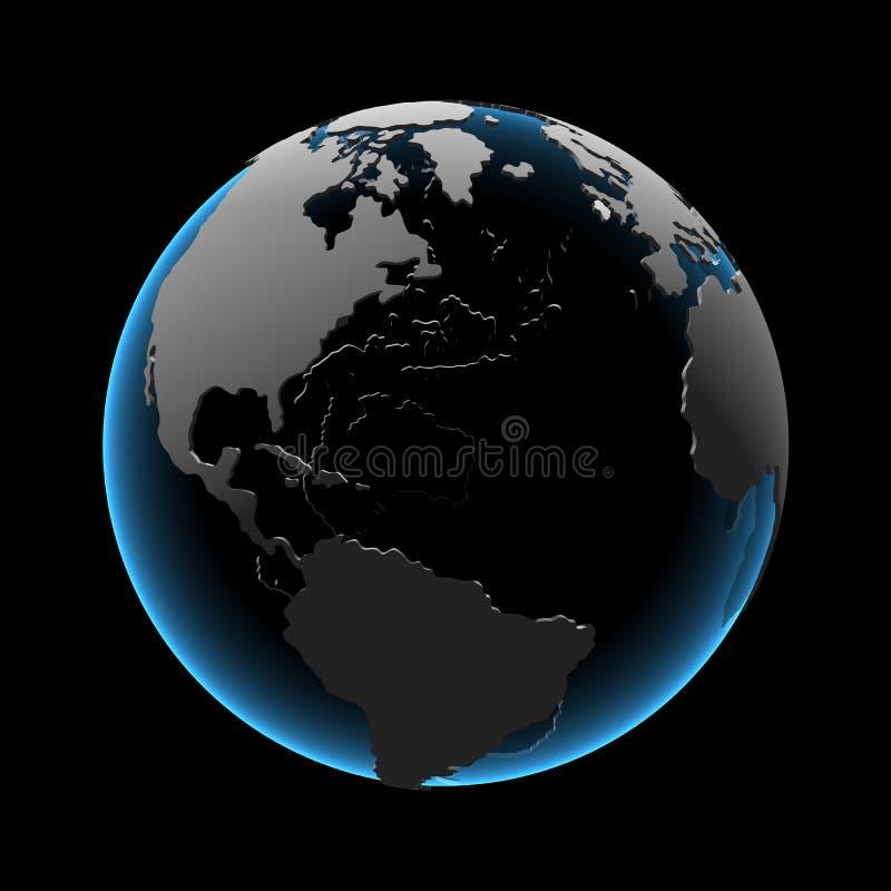 3d kuli ziemskiej błękitny xray ilustracja wektor