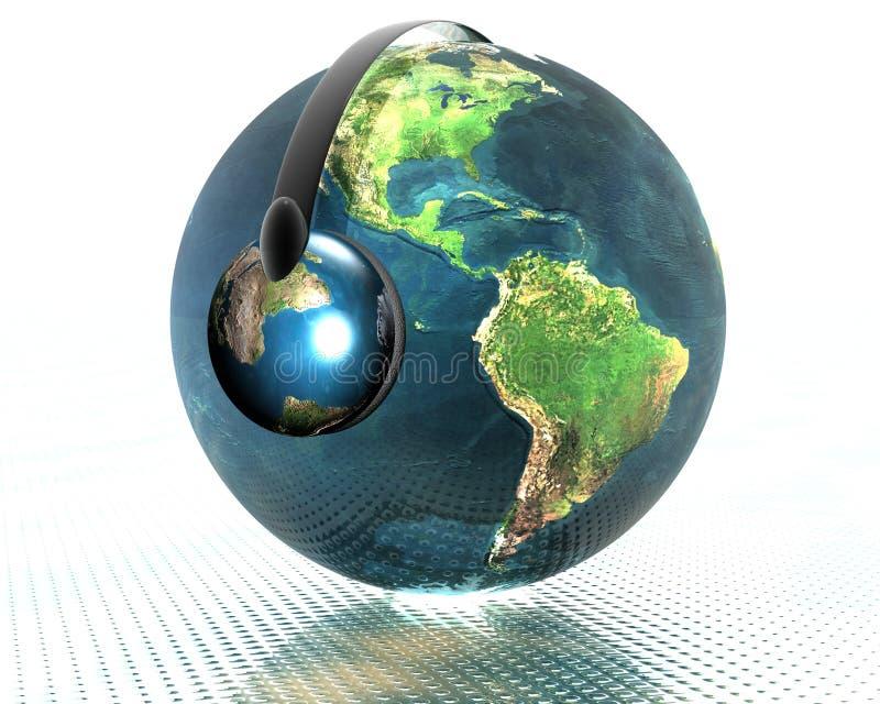 3d kuli ziemskiej hełmofonu muzyka ilustracja wektor