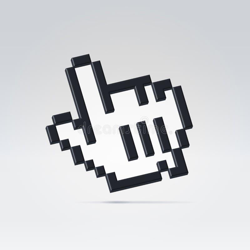 3d kursor czarny ikona ilustracja wektor