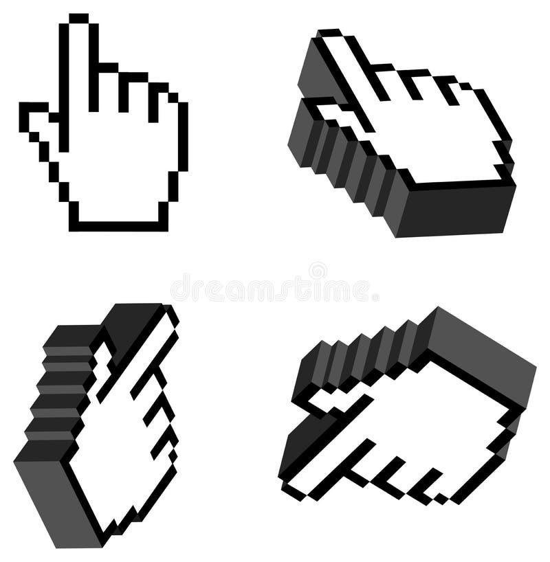 3d kursoru ręka ilustracji