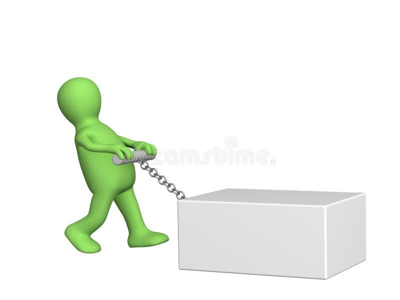 3d la persona - marioneta un rectángulo pesado de tracción libre illustration