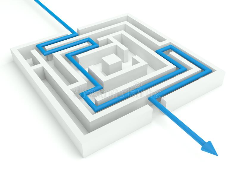 3d labirinto resolvido, conceito do negócio ilustração do vetor