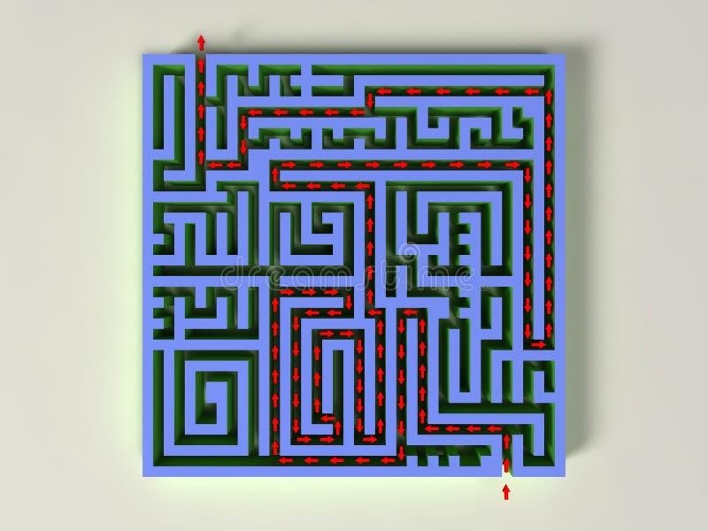 3D labyrint met rode pijl stock illustratie