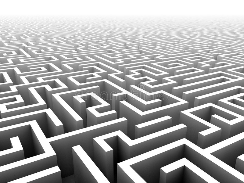 3D labyrinth royalty free illustration
