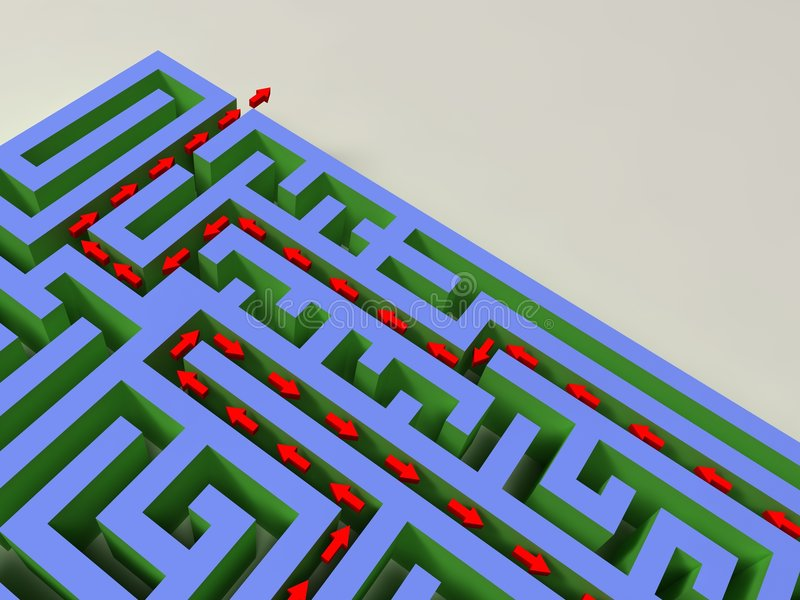 3D labyrinth with red arrow stock photos