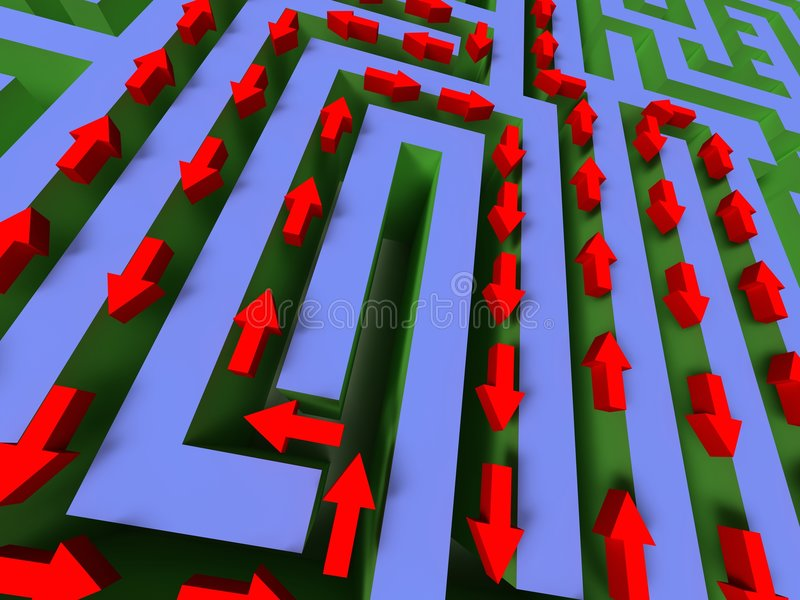 3D labyrinth with red arrow stock images