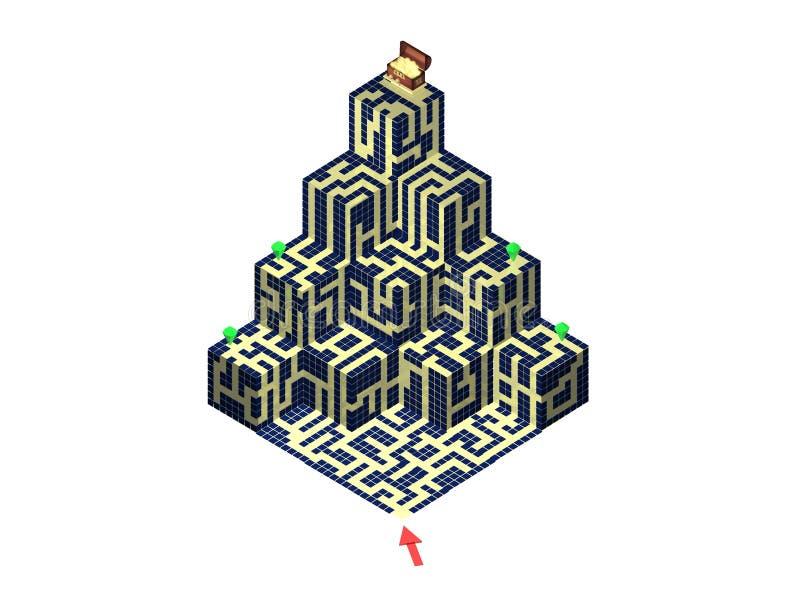 3D labyrinthe - pyramide illustration stock