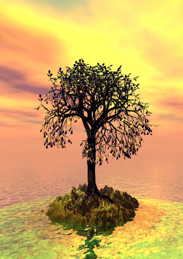 3d landscape with fall tree stock image