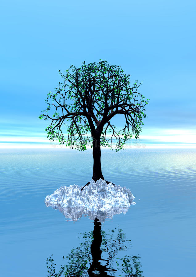 3d landscape with lonely tree, Spring stock photography