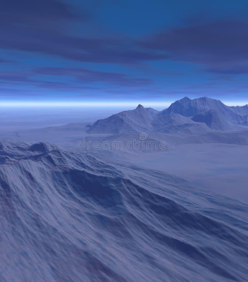 3D landschap van de fantasiewinter vector illustratie