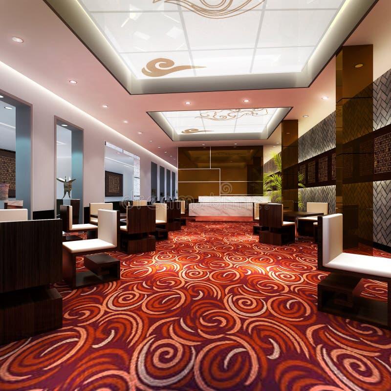 3d large restaurant hall rendering vector illustration