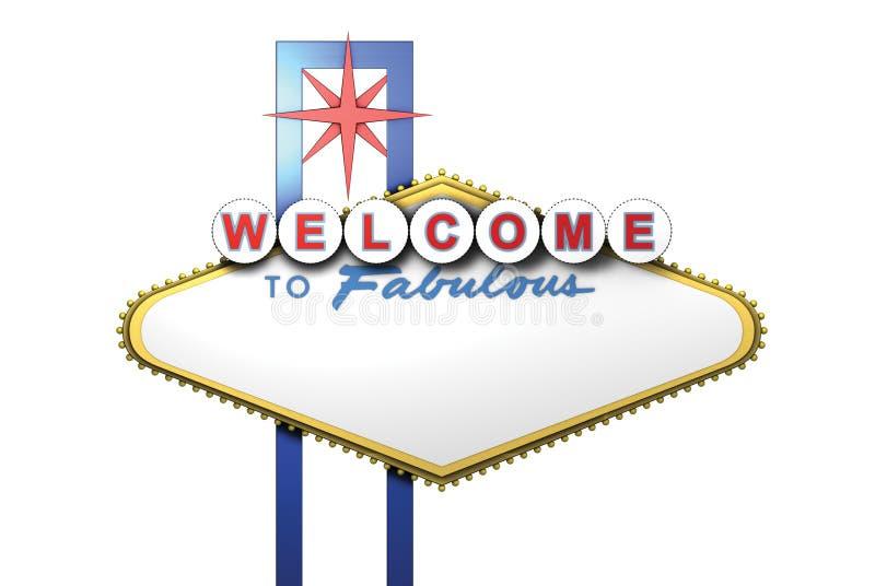 3d Las Vegas Zeichen mit unbelegtem Bereich für Text stock abbildung