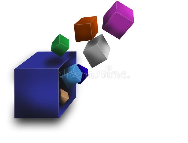 3d latający pudełka ilustracja wektor