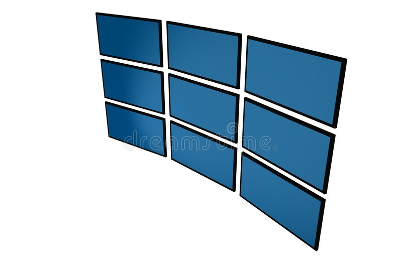 3D LCD monitors royalty free illustration