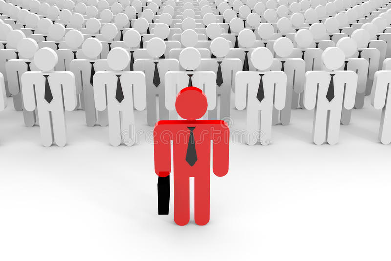 3D leader and a crowd. royalty free illustration