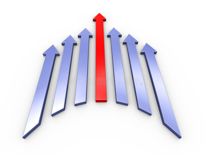3d leading red arrow. 3d illustration of leading red arrow moving forward with group of other arrows. Concept of competition, success, leadership and teamwork stock illustration
