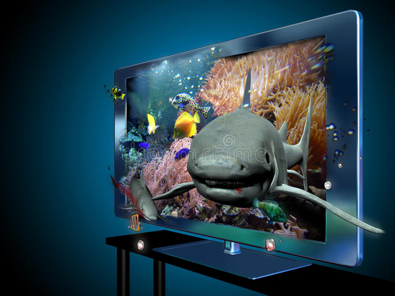 3D and 4k television stock illustration