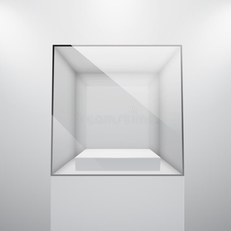 3d leeren Glasschaukasten lizenzfreie abbildung