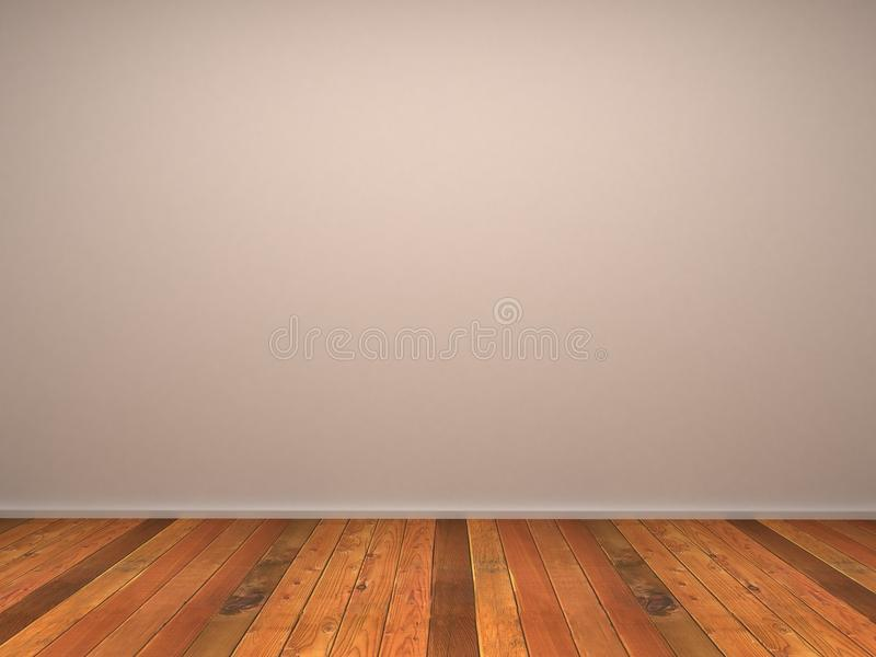 3d leeren Wand des Raumes mit hölzernem Parkett vektor abbildung