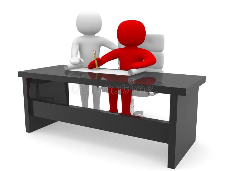 3d les gens - hommes et un bureau avec le document de travail. illustration stock