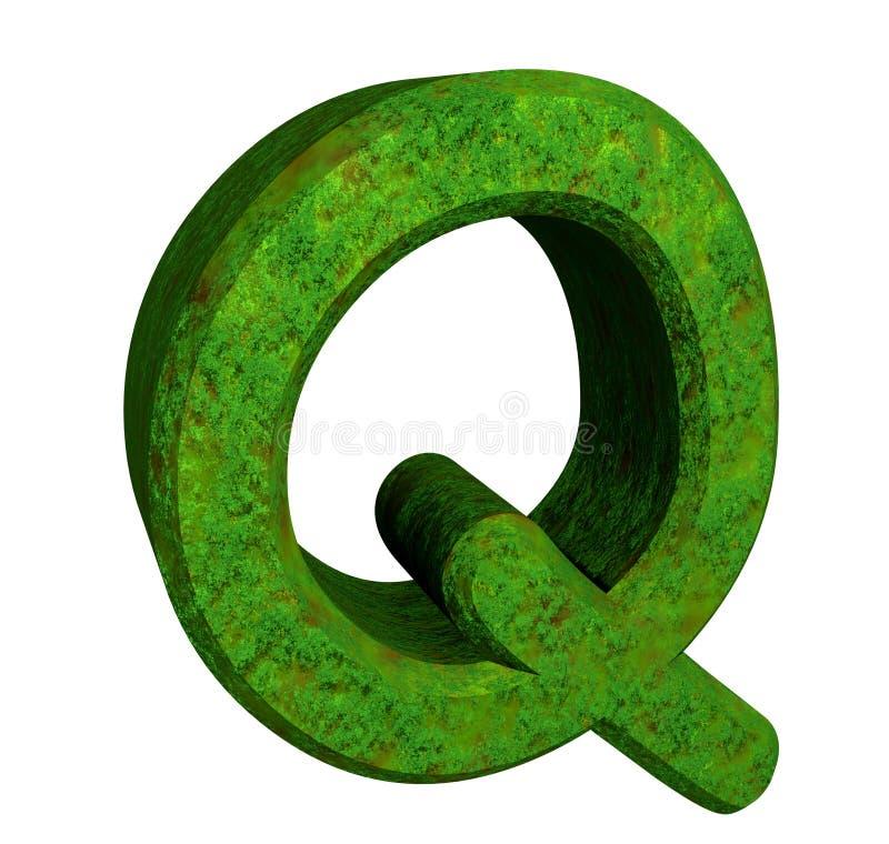 3d letra Q en hierba verde stock de ilustración